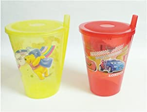 SOFTLINE Plastic Disney Sipper with Straw and Lid, 200ml (Multicolour) - 2 Glasses