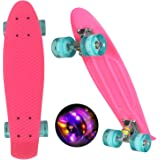 "WeSkate Mini Cruiser Skateboard Tavola Completa retrò 22""55cm Tavola da Skate Vintage con Bordo in Plastica Cruiser Tavola co"