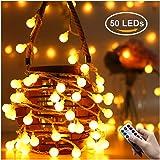 Greatever Lichterkette, 50 LED Lichterkette Warmweiß 5M mit 8 Modi Fernbedienung Batteriebetriebene IP65 Wasserdicht, Innen und Außen Deko für Weihnachten Party Garten Balkon