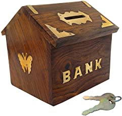 Craft Expertise Wooden Money Bank Hut Style Kids Piggy Coin Box Gifts Handmade 4 Inch, with Lock