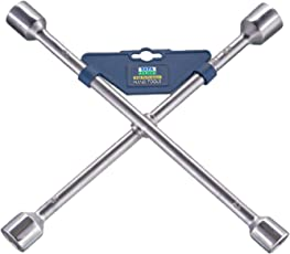 TATA AGRICO 4 Way Car Wheel Nut Cross Rim Wrench Brace Spanner Vehicle Tool Kit 17x18x19x21 (Pack of 5 Cross Spanner)