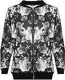 WearAll Damen Übergröße Blumen Bomber Jacke Dames Top Rose Print Langarm Zip Stretch - Schwarz - 48