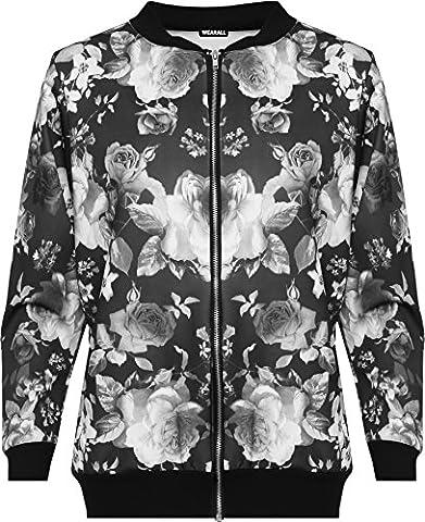 WEARALL Femmes Grande Taille Floral Bomber Bombardier Veste Haut Rose Imprimé Manches Longues Zip Étendue - Noir - 46