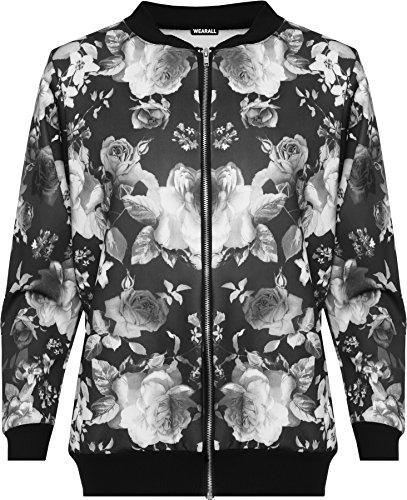 WearAll Damen Übergröße Blumen Bomber Jacke Dames Top Rose Print Langarm Zip Stretch - Schwarz - 46 Rose Print Jacke