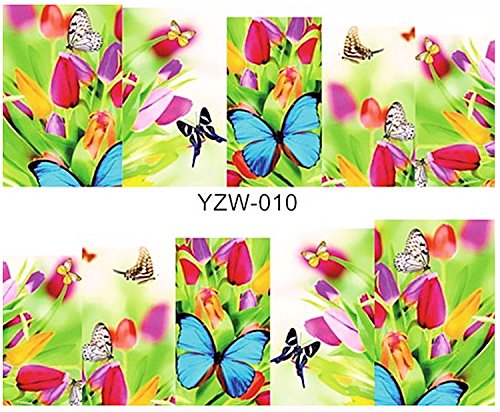 1 planche de Slider/Wrap/Full Cover Nail Stickers pour ongles, Hydrosoluble : yzw-010 tulipes et papillons
