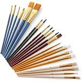 Goolsky 25Pcs Paint Brushes Set PaintBrushes Starter Kit Includes Taklon/Bristle/Horse Hair Brushes and Sponge Brushes for Ac