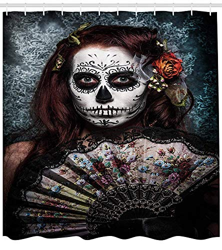 JIEKEIO Day of The Dead Decor Shower Curtain by, Make up Artist Girl with Dead Skull Scary Mask Roses Print, Fabric Bathroom Decor Set with Hooks,60 * 72inch, Cadet Blue Maroon -