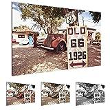 Bilder Vintage Car Route 66 Wandbild Vlies - Leinwand Bild XXL Format Wandbilder Wohnzimmer Wohnung Deko Kunstdrucke 70 x 40 cm Bunt 1 Teilig -100% MADE IN GERMANY - Fertig zum Aufhängen 609814a