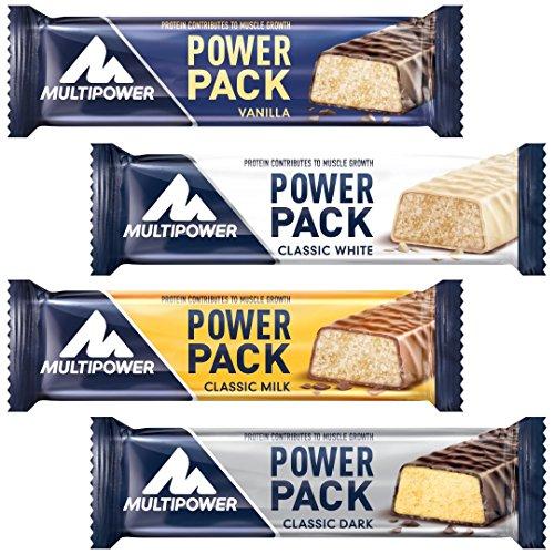 Multipower Power Pack Mix Box Protein Riegel – Eiweißriegel mit 27% Protein – klassischer Power Bar als gesunder Sport-Snack – in 4 leckeren Geschmacksrichtungen – 24x35g