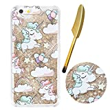 "iPhone 6S Hülle,iPhone 6 Hülle 4.7"",Vioela Flüssiges Case,Golden Glitter Hülle,Cute Lovely Cartoon Einhorn Regenbogen Muster Hart Luxus Shiny Sparkle Golden Stern Design Hard Haut zurück Tasche Schutzhülle Funny Cool 3D Fließen Flüssig Schwimmend Slim Tre"