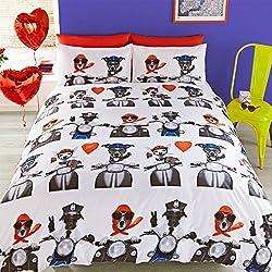 # Ropa de cama Retro y un perro carlino Daytrip Juego de funda nórdica-Funky & Quirky Dessin-Juego de funda nórdica, algodón poliéster, rojo, azul, negro, blanco, doble