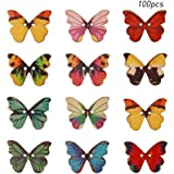 pengxiaomei 100 Pieces Mixed Colours Butterfly Wooden Buttons, Wooden Craft Buttons Decorative Button 2 Holes Wood Craft…