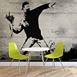 Banksy Graffiti Beton - Forwall - Fototapete - Tapete - Fotomural - Mural Wandbild - (3026WM) - L - 152.5cm x 104cm - VLIES (EasyInstall) - 1 Piece