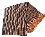 Alpacaandmore Braune Decke Tagesdecke Wolldecke Kuscheldecke Alpakawolle 170 x 130 cm Fischgrätmuster mit Fransen