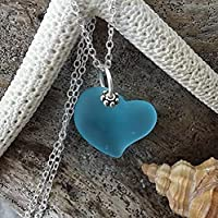 """Handmade in Hawaii,""""Heart of the Sea"""" Blue sea glass necklace, sterling silver chain, Hawaiian Gift, FREE gift wrap, FREE gift message"""