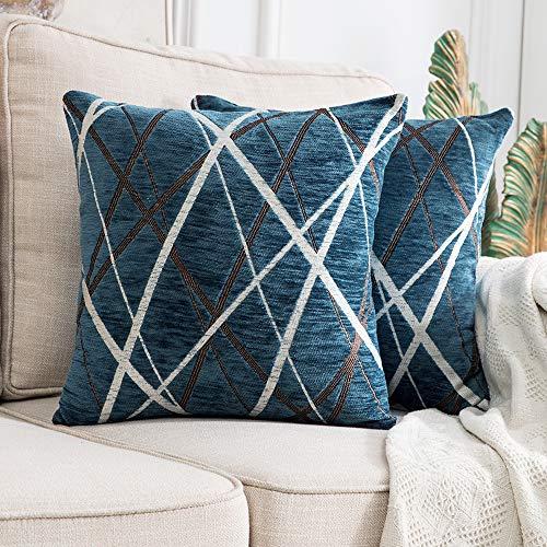 Miulee confezione da 2 fodere per cuscini decorative federe copricuscini stampati arredi per casa divano camera da letto auto 18 x18 pollici 45 x 45 cm blu modello b
