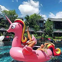 Idea Regalo - ANGAZURE Fenicottero Gigante Gonfiabile, Piscina Gonfiabile Fenicottero Giocattolo di Galleggiante Flamingo per Bambini e Adulti (F)