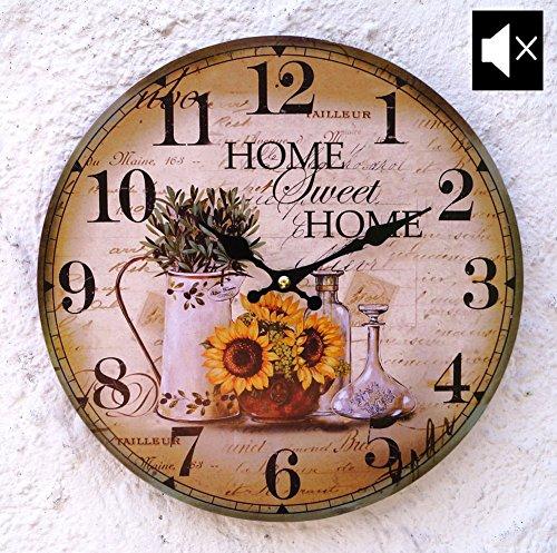 LB H&F Lilienburg Wanduhr Vintage Küchenuhr mit lautlosem Uhrwerk Uhr grün braun gelb HOME - kein nerviges Ticken