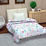Divine Casa Floral Polyester Single Quilt - Pink And Light Blue