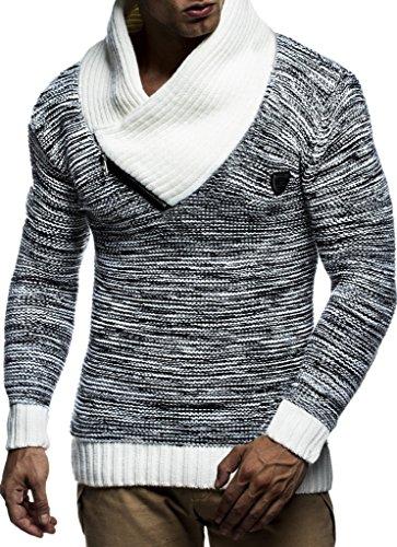 Schwarzer Wollpullover (LEIF NELSON Herren Strick-Pullover Schalkragen Slim Fit Winter Sommer| Moderner Männer schwarzer Pulli T-Shirt Langarm mit Kragen | Herren Hoodie-Wollpullover | LN7060N Schwarz-Ecru Medium)