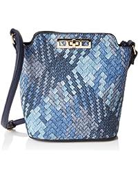 SwankySwans  Sally Weave Pu Leather Shoulder Bag Navy Blue, Sacs bandoulière femme