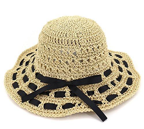 Roffatide Damen Hand Gestrickt Sonnenhüte Strohhut Sommer Flexible Breite Krempe Faltbarer Eimer Hut Beige