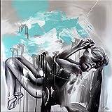 Dream and Space - Abstraktes Acrylbild mit Türkis - Frauenakt - Erotische Kunst - Street Art - Martin Klein - Erotik Akt - Moderne Kunst online kaufen