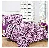 Day Night Bedding D & N Collection Diana 3-teiliges Tagesdecken-Set, Gesteppte Bettdeckenbezüge, Jacquard, Steppbettwäsche, gesteppt, für Doppel- und King-Size-Bett, Diana Purple, Super King