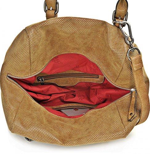 MIYA BLOOM, Borse da donna, Borse a tracolla, Borse Trapezoidali, Borse, 42 x 23 x 21 cm (L x A x P), colore: Sabbia cognac