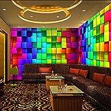 Zxfcccky Wandbild Bunte 3D Stereo Cube Tapeten Für Nacht Club House Decor Ktv Wohnzimmer Wallpaper Benutzerdefinierte Größe Wandbild Vliestapete-120X100CM