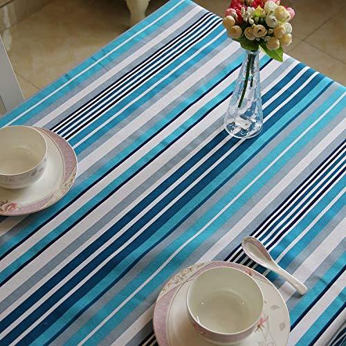 SnowFig Tischdecke Mediterranen Stil Polyester-Baumwolle Mischung Blau Gestreiften Rechteckigen Tischdecke Kaffee Tischdecke Abdeckung Handtuch, 110 * 170Cm - Blaue Baumwolle Mischung