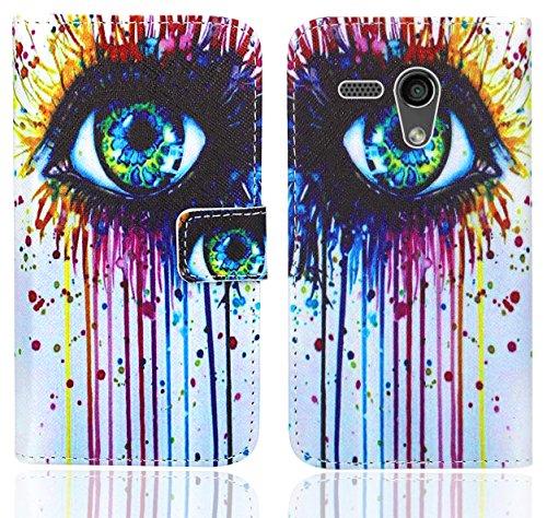 FoneExpert® Moto G2 Handy Tasche, Wallet Case Flip Cover Hüllen Etui Ledertasche Lederhülle Premium Schutzhülle für Motorola Moto G 2nd Gen. 2014 (Pattern 10)