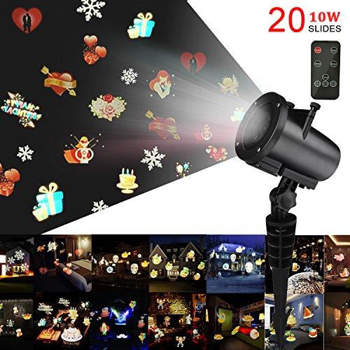 Weihnachts Projektor Lichter,Kingtoys LED Projektionslampe mit 20 Austauschbare Patterns und RF-Fernbedienung, Weihnachtsbeleuchtung Mit Wasserdicht IP65,10W RGB Projektionslampe mit 10M Netzkabel
