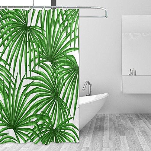 cpyang Palm Leaf Polyester Stoff Vorhänge Dusche Wasserdicht und Schimmel beständig für Badezimmer Dekoration Mit 12Vorhang Haken 182,9x 182,9cm (Palm-baum-dusche Vorhang Ringe)