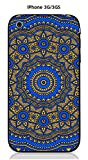 Onozo Coque Apple iPhone 3G/3GS Design Mandala Rosace Bicolore Bleu & Jaune