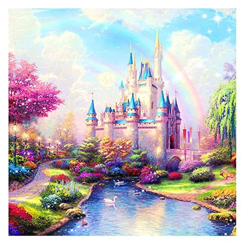 MXJSUA DIY 5D Diamond Painting Full Round Drill Kits Rhinestone Picture Art Craft for Home Wall Decor 14X14In Rainbow Castle