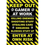 "Póster para jugador de videojuegos, estampado de Playstation, Xbox Con texto ""Keep out. Gamer at work…""."