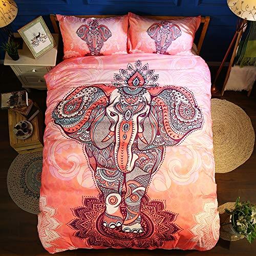 JSDJSUIT Bettwäsche-Set Tröster Bettwäsche-Sets BohemianPink Elephant Bettbezug Queen mit Kissenbezug Bettwäsche, US Full 3St -