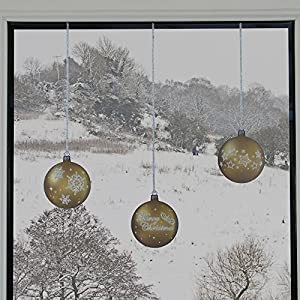 ArtiClings 12 x Bauble Window Clings with Glitter Patterns and Strings Colour = Gold