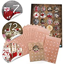 '24sacchettini carta piccoli natalizi sacchettini con pois bianchi/Beige (9,5x 14cm) e 24adesivi rotondi 4cm