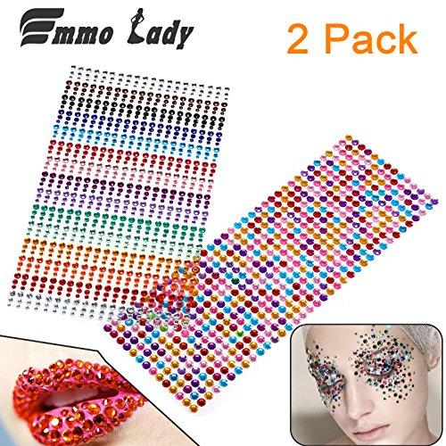 EMMO LADY Multi Color Crystal selbstklebende flache Rückseite Strasssteine für Nägel, Bücher, Telefone, Kleidung, Schuhe und Tabletten | 3 mm - 6 mm große dekorative Steine