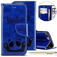 Herbests Handytasche für iPhone 7 Plus/iPhone 8 Plus Lederhülle Niedlich 3D Panda Muster Flip Case Cover Hülle Leder Klapphülle Leder Tasche im Bookstyle Handyhülle Brieftasche Schutzhülle,Blau