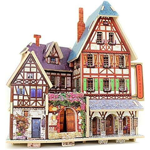 DEHANG 3D Puzzle Rompecabezas de madera Modelo de Arquitectura - Hotel Francés - Regalos para niños