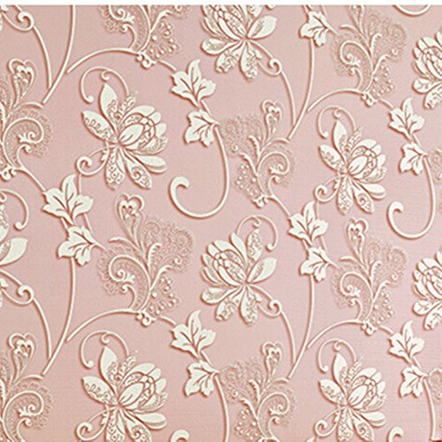 herzii Vintage Floral Muster Home Raum Decors Wandtattoo Aufkleber Wandbild Kunst Tapete, selbstklebend Pink -