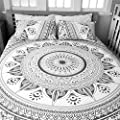 HANDICRAFTOFPINKCITY Bohemian Mandala Duvet Cover Throw Queen Size Reversible Cotton Quilt Cover Indian Bedding Doona Cover Handmade Ombre Blanket Cover Set