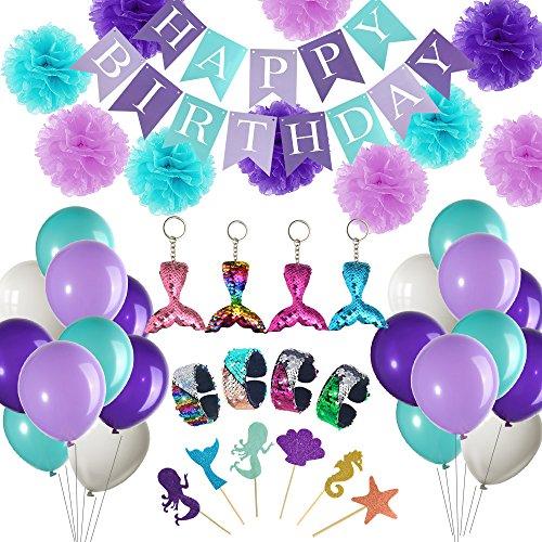 FEPITO 92 Stück Meerjungfrau Thema Birthday Party Supplies -