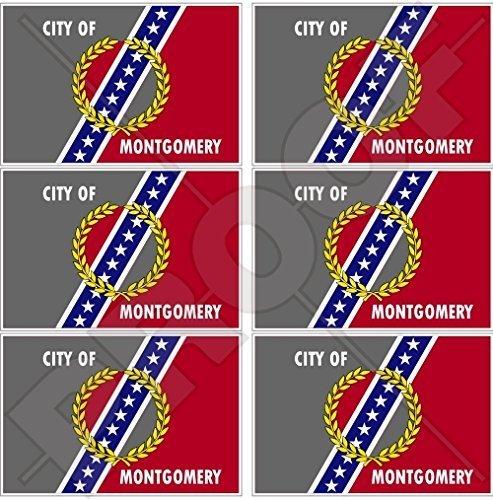 MONTGOMERY Stadt Flagge Alabama USA Amerika Alabaman, Alabamian, Amerikanisch 40mm Mobile, Handy Vinyl Mini Aufkleber, Abziehbilder x6 Stickers - Stadt Amerikanischen