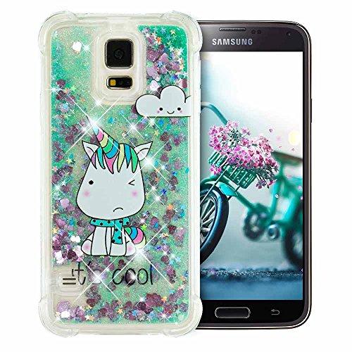 Fine Finet Samsung Galaxy S5 Hülle Glitzer Liquid Transparent Silikon Case Süß Einhorn, Premium Stoßfest TPU Handyhülle Weich Kratzfeste Schutzhülle für Samsung Galaxy S5, Blau Herzen