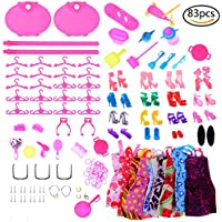 SuxiDi Random Color Total 83pcs - 10 Pack Clothes Party Gown Outfits for barbie dolls+ 73pcs Dolls Accessories Shoes Bags Necklace Mirror Hanger Tableware