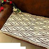 DHSNJKL Drapeau de la table creuse en dentelle des fleurs en crochet/canapé serviette en tissu de couverture de table basse/chemin de table-A 60x120cm(24x47inch)